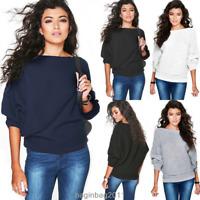 Damen Locker Sweater Fledermausärmel Pullover Sweatshirt Tunika Pulli Oberteil