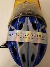 Reflectek New Adult Bikers Blue Helmet With Reflective Silver Stripe