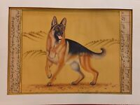Hand Painted Courage Dog Loyal Miniature Painting India Art Paper WildLife