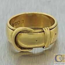 1880s Antique Victorian English 18k Solid Yellow Gold Belt Buckle Band Ring