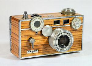 BOX CAMERA ARGUS C3 55-82-yr. old VINTAGE c. 1939-1966, CUSTOM ZEBRAWOOD VENEER