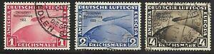 GERMANY 1933 ZEPPELIN Chicago Flight used Set Scott #C43-45