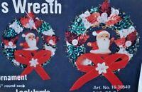 LeeWards SANTA'S WREATH Boutique Sequin Bead Christmas Ornament Kit Vintage NOS