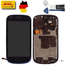 Für Samsung Galaxy S3 Mini i8190 Touchscreen LCD Display Glas+Rahmen Blau Tools