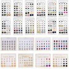 Wholesale 12 Pairs Rhinestone Crystal Pearl Ear Stud Earrings Set Women Jewelry
