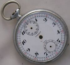 Gallet Chronograph Pocket Watch open face nickel case & enamel dial 47 mm.
