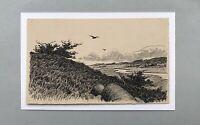 Poul Steffensen 1866-1923 Weite Landschaft Fluss Vögel Illustration Carit Etlar