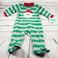 Carters Child of Mine 0-3 Month Baby Santa Christmas Footed Sleeper Pajamas