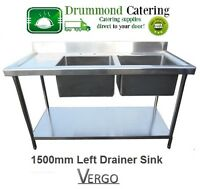 New Commercial Catering Stainless Steel Kitchen Sink 1500mm Double Bowl Sink