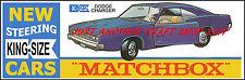 MATCHBOX KING SIZE K-22 DODGE CHARGER Poster Volantino Pubblicità Negozio Segno da 1969