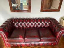 3 Seater Chesterfield Sofa Bed - Real Leather - Birch Antique Red