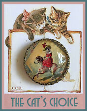 "VICTORIAN CAT RIDING DOG Glass Dome BUTTON 1 1/4"" Vintage ILLUSTRATION Art"