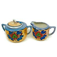 Takito Vintage Porcelain China Lusterware Creamer & Sugar Set Hand Painted Japan