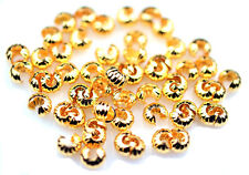 50 Corrugated Gold Plated Crimp Knot Bead Covers 5MM