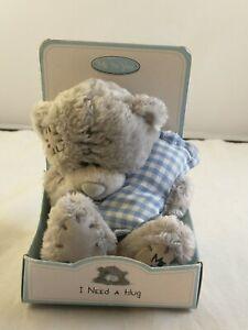 "Me to You Bear ""I Need a Hug"" Gray Plush Blue Gingham Pillow *13"