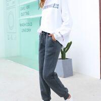 Women Sweatpants Fleece Jogger Pants Trousers Harem Lined Winter Drawstring Grey