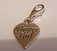 clip on FLOWER GIRL HEART sterling silver charm charms clasp fit Sab@ WEDDING