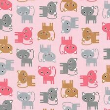 Robert Kaufman Cotton Fabric.Urban Zoologie. Cats in Blush Pink. Grey. By the FQ