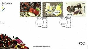 Kosovo Stamp 2016. Flora. Gastronomy: Fruit Apple, Pear, Blackberry. FDC MNH.