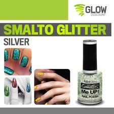 SMALTI GLITTER ARGENTO smalto brillantini manicure party glitter luminoso 30311