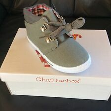 BOYS TODDLER CHATTERBOX GREY LACE CANVAS BOOTS SIZE 7