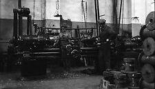 Ouvriers Atelier Machine Outil Tour c. 1930 - Grand Négatif - FD 270