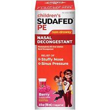 Children's Sudafed PE Nasal Decongestant, Non-Drowsy, Berry Flavor Liquid, 4 Oz