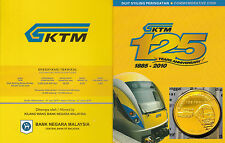Card Coins Malaysia 2010 125th Anni. KTM Railway service Nordic gold Coin Comm.