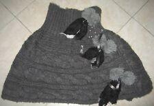 cappa/poncho/mantella/coprispalla/dolcevita/lupetto di lana grigio- taglia Unica
