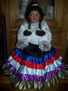 """ARTIST MADE COLOURED DOLL - CIRCA 1990's - 19"""" HEIGHT"""