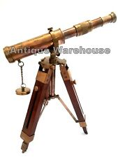 Nautical Antique Brass Telescope With Wooden Tripod Vintage Marine Spy Glass G