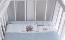 Brand New Bubba Blue Embroidered Tickle Me Boys Cot Sheet Set Gorgeous