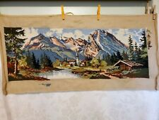 Scenic Mountains Lake Landscape Needlepoint Penelope Canvas W/Yarn 90% Completed