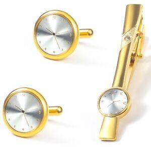 GOLD WATCH CLOCK FACE TIME CUFF LINKS TIE CLIP PIN CUFFLINKS BNIB NEW UK GL20