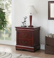 Traditional Cherry Finish Nightstand Bedside Table 2 Drawers  Side Table Accent
