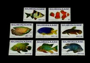SURINAME, 2010, MARINE LIFE FISH, CTO, SET OF 8 SINGLES, NICE! LQQK!