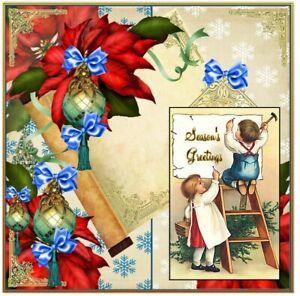"Christmas card 3D Handmade gorgeous Season's Greetings  7"" x 7"" large card"