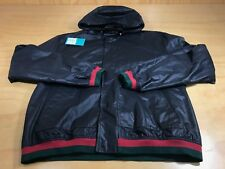 GUCCI CLASSIC LOGO BUTTON NYLON HOODED WINDBREAKER JACKET NAVY GREEN RED MEN 58