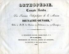ORTHOPEDIE- Compte-Rendu Travaux Orthopédiques de la Maison BIENAIME-DUVOIR 1840