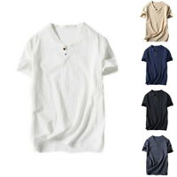 Mens V Neck Short Sleeve Cotton Linen Casual Henley T-Shirt Solid Color Tops Tee