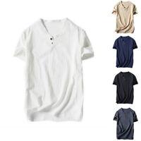Mens Summer Casual Plain T-Shirt V Neck Linen Short Sleeve Buttons T-Shirt Top