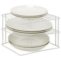Laminated Metal Wire 3 Tier Corner Plate Stand Rack Kitchen Cupboard Storage NEW