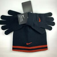 Nike Kids Boys Girls Beanie Hat & Glove 2 Piece Set Swoosh Black Red Youth 8/20