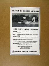 1957 Colonial C-1 Skimmer Amphibian plane photo vintage print Ad