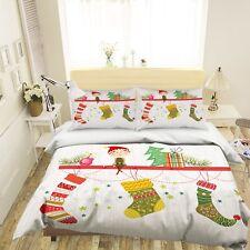 3D Christmas Xmas Sock 61 Bed Pillowcases Quilt Duvet Cover Set Single King UK