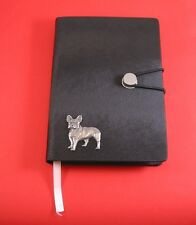 French Bulldog Motif A6 Black Soft Touch Journal NEW Father Mothers Useful Gift