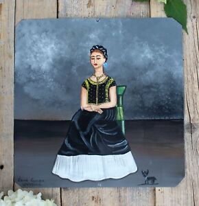 Frida Kahlo & her Dog Portrait Tin Retablo Hand Painted Oaxaca Mexican Folk Art