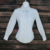 Banana Republic Fitted Dress Shirt Womens Sz 0P White Blue Non Iron Long Sleeve
