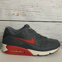 Nike Air Max 90 Essential Mens sz 11.5 Gray Red White Shoes Sneakers 537384-061
