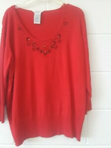 Women's 22W/24W Red Sweater 48 Inch Chest 3/4 Sleeves